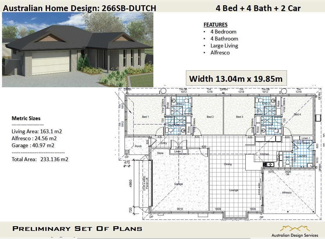 233m2 4 Bedroom 4 Bathrooms House Plans Architectural | Etsy