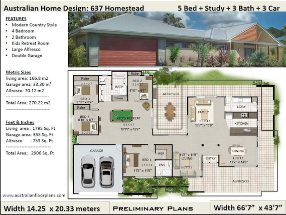 4 Bedroom House Plans | 270m2 2906 Sq Ft 4 Bed Acreage Style 4 Bedroom House Plan Australia Acreage Home Plans 4 Bed Colonial House Plans Homestead