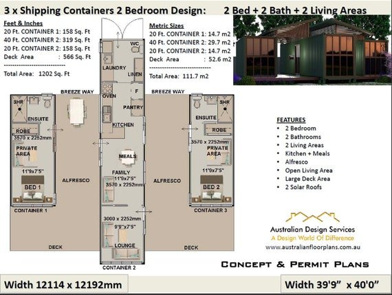 2 Bedroom Shipping Container house plans | 2 Bed container homes plans-  house plans container home, USA feet & Inches-Australian Metric