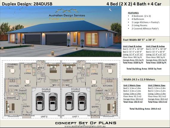 Modern Duplex House Plans 2 Family Home, Duplex Floor Plans With Double Garage Australia