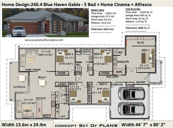 5 Bedroom house plans Australia   260.4 m2 or 2800 Sq. Feet   5 Bedroom  design   5 bed floor plans   5 bed blueprints   5 Bed Home Design