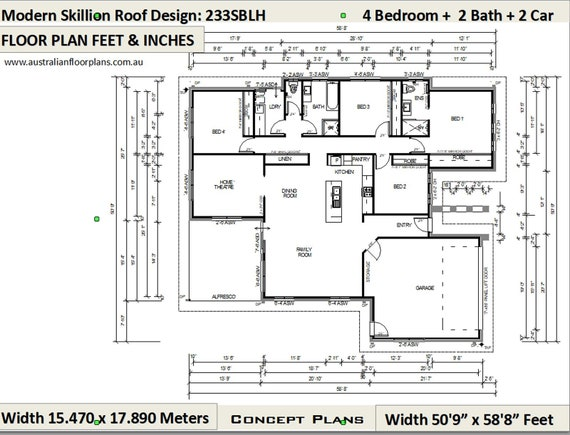 House Plan 233SBLH Cad (DWG) Version: 2508 Sq Foot (233 m2) house plans | 4  Bedroom house plans | 4 bed floor plans | 4 bed + Home Theatre
