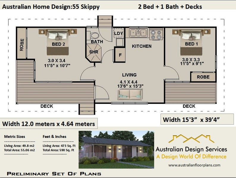 55 m2 or 592 sq foot | 2 bedroom small home design | homestead 2 bedroom |  Small &Tiny House Plan - Concept House Plans For Sale