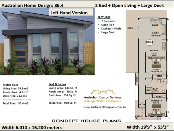 59.9 m2 | 644 sq foot | 2 Bedroom house plan 86.4 | Narrow Lot Small Narrow House Plans Open Floor on narrow house 3 car garage, open ranch style home floor plan, narrow cottage style house plans, modern long house plan, 1921 american beautiful home floor plan, narrow 3 bedroom house plans,