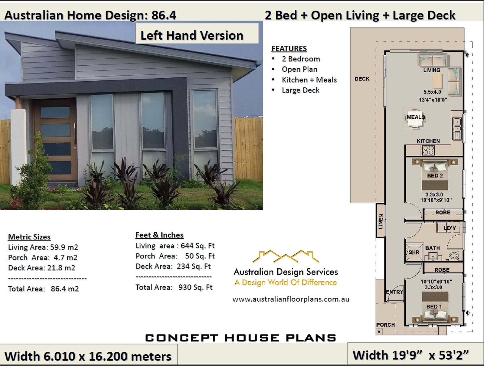 Sensational 59 9 M2 644 Sq Foot 2 Bedroom House Plan 86 4 Narrow Lot Small House Design Concept House Plans For Sale Interior Design Ideas Gentotryabchikinfo