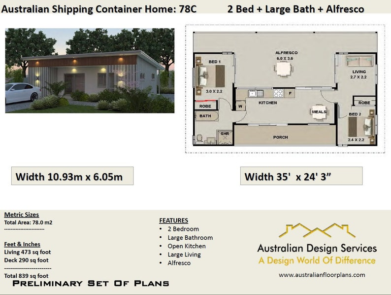 2 Bedroom Container Home Concept Plan | 840sq foot | 78 m2 | 3 containers  combined plans Metric or feet and Inches| ship container