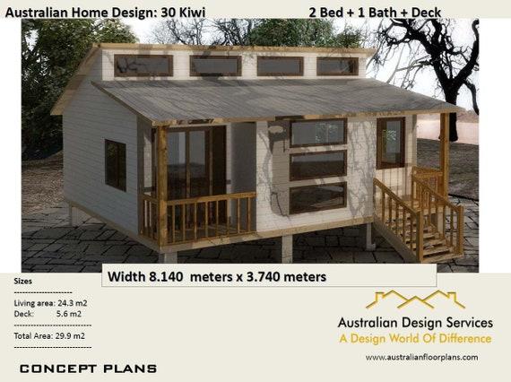 2 Bedroom Granny Flat House plans for sale - 30 Kiwi 29.9 m2 / - Concept  House Plans For Sale - Simple House Plans