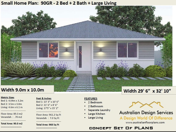 2 Bedroom House Plan, 968 sq feet or 90 m2 | 2 small home design, small on