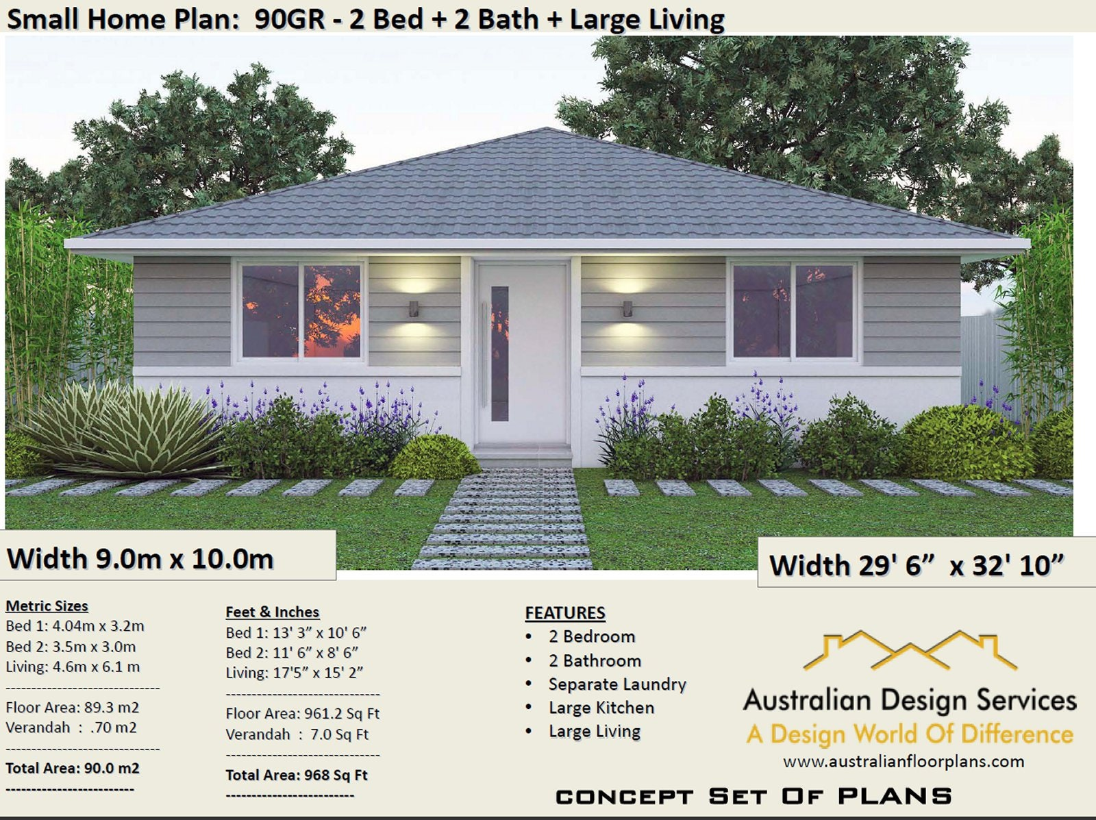 2 Bedroom House Plan 968 Sq Feet Or 90 M2 2 Small Home