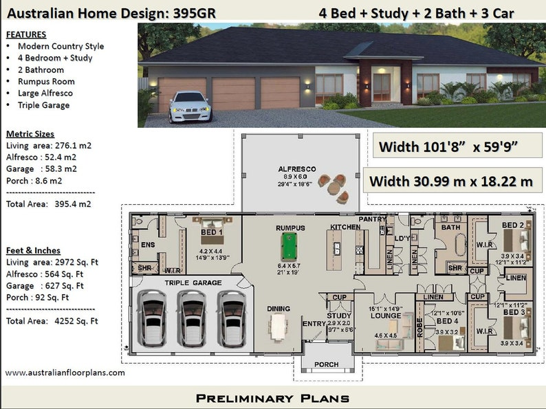 Australian 4 Bed + Study + Home Plans For Sale / 395 m2 or 4252 sq on