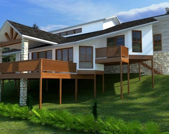 277m2 |  4 Bedrooms | Home Planr 4 bed | 3 or 4 bedroom  plus double garage home plans | Modern Home for sloping land | hillsde blueprint |