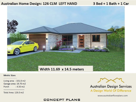 3 Bed House Plans Single Garage For Sale 126 M2 3 Etsy