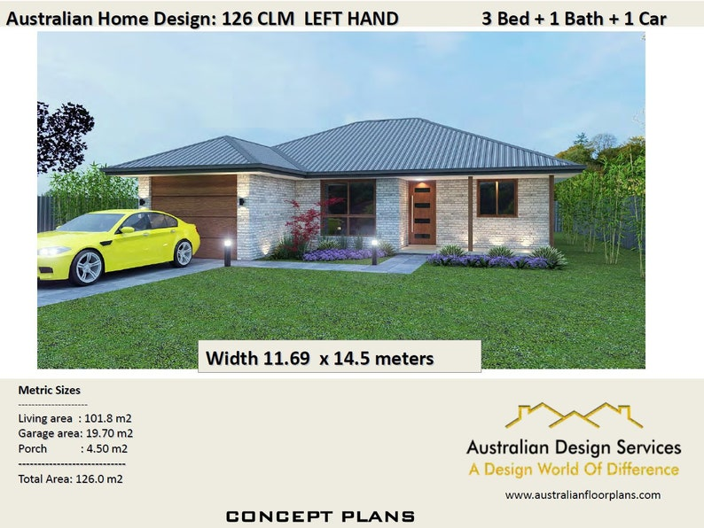 3 Bed House Plans Single Garage For Sale 126 M2 3