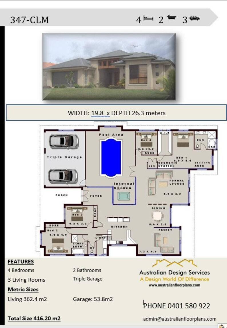 House Plans 4 Bedroom House Plans Triple Garage Home Etsy