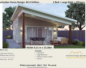 Concept House Plans For Sale-2 Bedroom Granny Flat House plans for sale - Small & Tiny Homes Range Plan : 82.4 Skillion