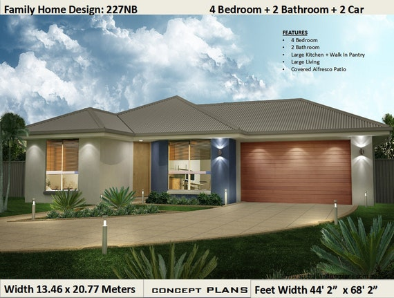 House Plans 4 Bedroom House Plans Double Garage Home Etsy