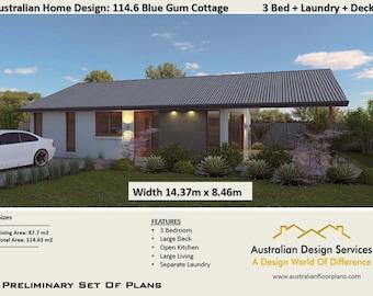 Blue Gum Cottage 3 Bed House Plans For Sale | 114.63 m2 -1233 sq feet - 12.3 sq