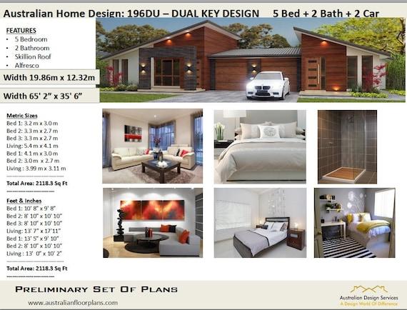 house plans 2115 Sq Ft (196 m2 ) | 5 Bedrooms duplex design | modern duplex  plans | Concept Plans USA feet & Inches -Australian Metric Sizes