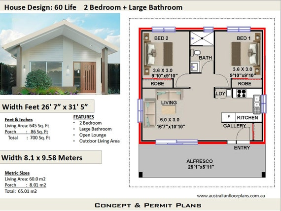 2 Bedroom House Plan, 700 sq. feet or 65 m2 | 2 small home design, small  home design, 2 Bedroom Granny Flat, Concept House Plans For Sale