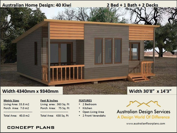 40 Kiwi | 40.8 m2 (438 Sq. Foot) |Two Bedroom-Concept House Plans For Sale  | two bed cabin plans, 2 bed granny flat Australia, small home