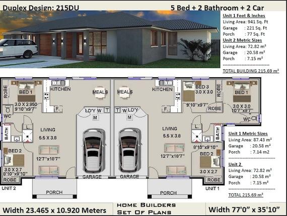 Duplex House Plans 5 Bedroom, Duplex Floor Plans With Double Garage Australia