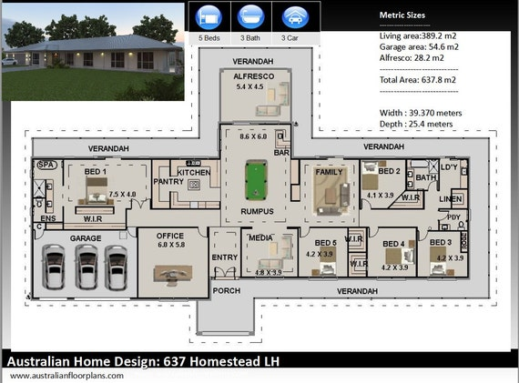 637m2 | Construction Plans + Free Modifications | 5 Bedrooms | Country  Style home plans | country house deigns | rural home designs|