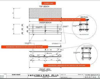 Easy Build - Work Bench Blueprint Plans  for your Workshop  - Metric and Feet & Inches by Simple Simon ! ON SALE TODAY !