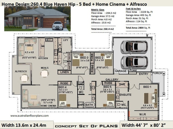 Australian 5 Bed House Plans 260 4 M2 Or 2800 Sq Feet 5 Etsy