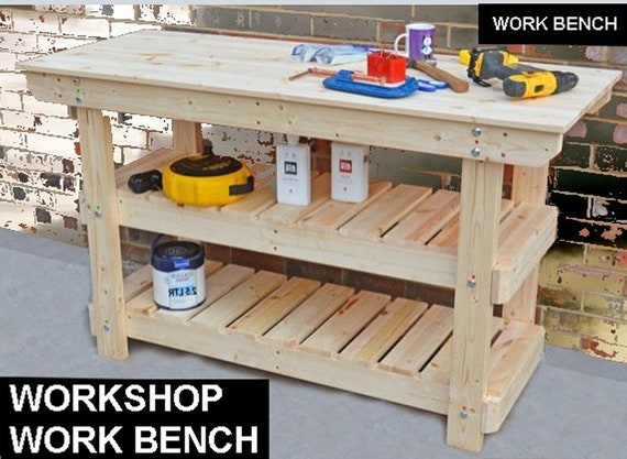 Easy Build Plans Wood Garage Shelving Work Bench Heavy Duty 3 Shelf Unit Metric Imperial Us Standard Sizes Timber Wood Pine Homemade