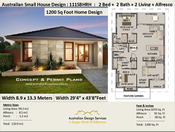 1200 sq foot house plan or 110 .9 m2 | 2 Bedroom + 2 Bathroom house Tiny House Plans Under Sq Ft on