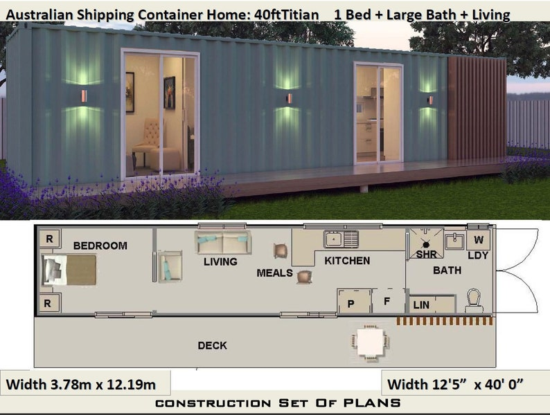 40 foot shipping container home full construction house etsy - 40 shipping container home plans ...