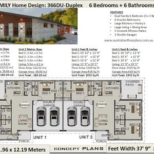 Spectacular Large Duplex House Plans 6 Bedrooms 6 Ensuite Etsy