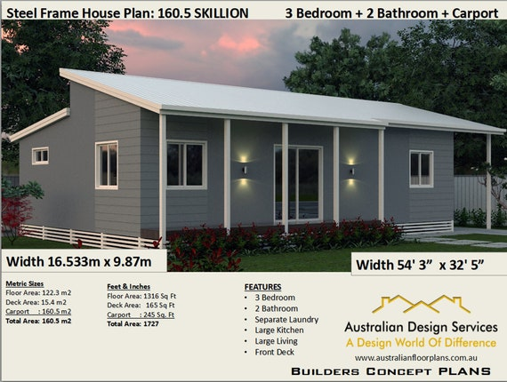 3 Bedroom House Plan, Size (122.3 m2) (1316 Sq Foot), 3 Bed Small & Tiny  Home-Living, Skillion Roof Design- Under 1500 sq foot house plans