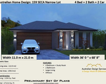 159m2 or 1713 Sq.Foot   4 Bedroom Concept Blueprints For Sale   Concept Architectural Blueprints   Concept  Architectural Plans