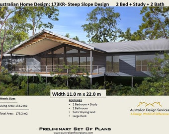 Australian 2 Bed + 2 Bath + Study Home Plans For Sale / on stumps and timber floor / Steep Slope House Design