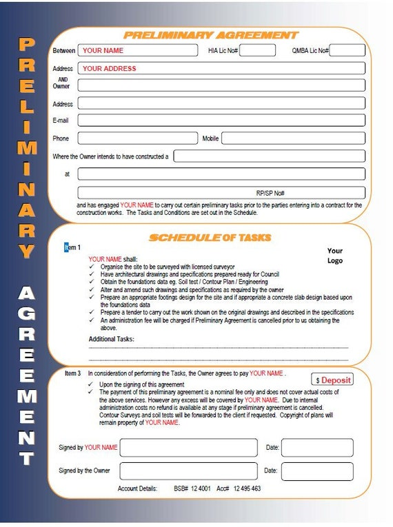 Construction Template For Sale Builders Preliminary Agreement Etsy