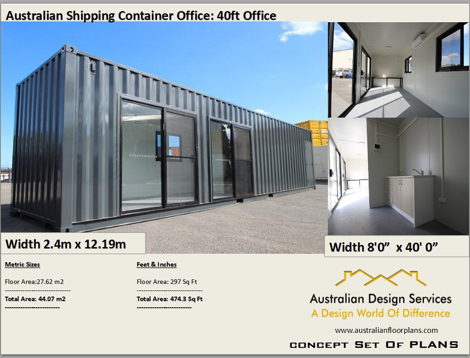 40 Shipping Container >> Transportable Office 40 Foot Shipping Container Office Construction Office Plans Blueprints Usa Feet Inches Australian Metric Sizes