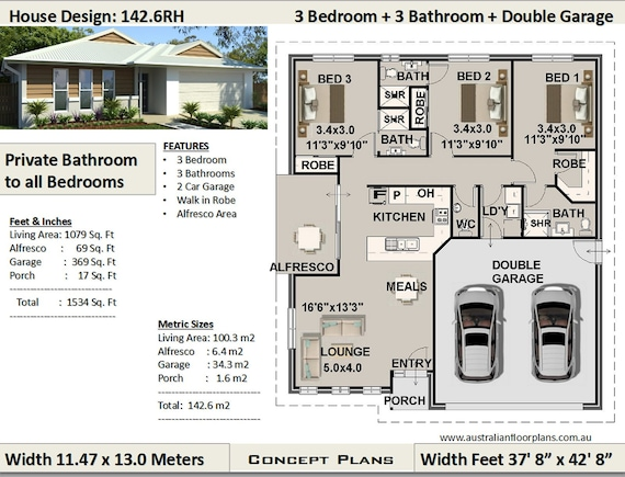 3 Bedroom house plan 1079 Sq Feet or 100 m2 | Private Bathroom to all  Bedrooms | Best Selling 3 Bedroom House Plans