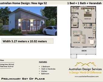 52 New Age |   52.8 m2  |  1 Bedroom home design - Concept House Plans For Sale
