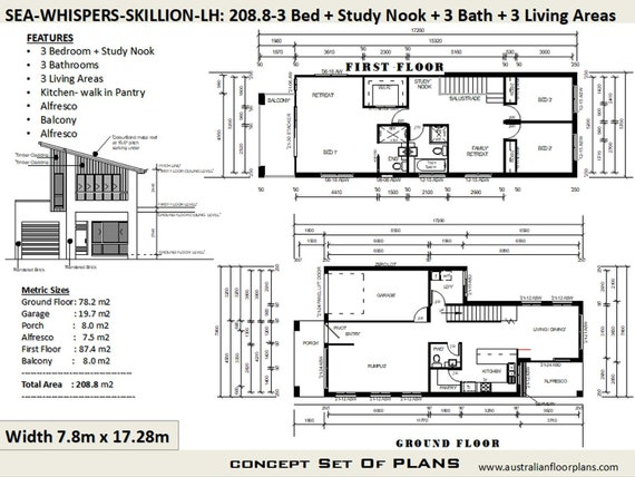 Duplex - Townhouse Narrow Lot Skillion Roof house plans | 208 m2 | on house plans with corner sink, house plans with 10 foot ceilings, house plans with sunken living room, house plans with half bath, house plans with great room, house plans with 2 living areas, house plans with larder, house plans with sunken family room, house plans with handicap access, house plans with widow walk, house plans with front veranda, house plans with wall of windows, house plans with split floor plan, house plans with upstairs living, house plans with computer nook, house plans with secret passage, house plans with first floor master, house plans with 6 rooms, house plans with 2 master bathrooms, house plans with computer area,