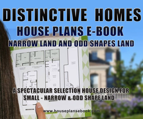 House Plan Book Narrow Small Lot House Plans For Small Etsy
