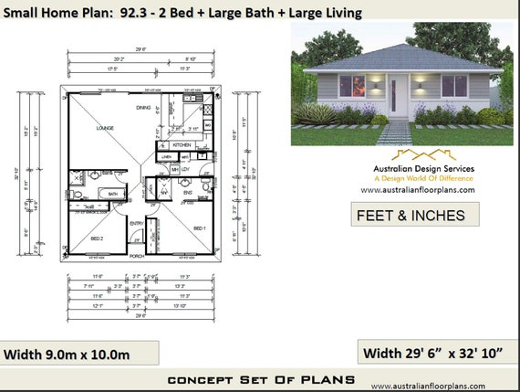 2 Bedroom House Plan, 968 sq feet or 90 m2 | 2 small home design, small  home design, 2 Bedroom Granny Flat, Concept House Plans For Sale