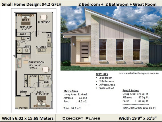 Small House Plan 1000 Sq Foot (94.2 Sq Meters) | 2 Bedroom house plan 94.2  GFLH | Small Home- Granny Flat Concept House Plans For Sale