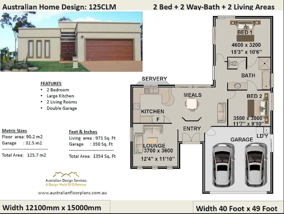 2 Bedroom + 2 Car Garage house plan, small 2 bed floor plan, modern home  design, 2 bed house design, 2 bed house plans australia for sale