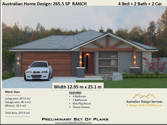 267.5 m2 Ranch Style Home Design | 4 Bedroom Concept house plans | Modern  Ranch House Plans For Sale
