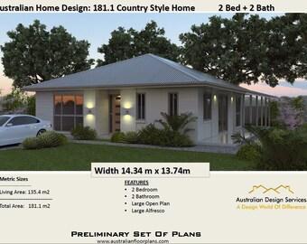 181.1m2 | 2 Bedrooms | Acreage Home Plan | Concept House Plans For Sale