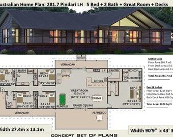 Acreage 5 Bedroom house plan 281.7 Pindari | 281 m2 | 3024 sq foot  | country style house plans australia  | australian homestead designs