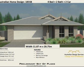 185.6 m2 | 4 Bedrooms + Alfresco + 2  Bath + Double Garage |  house plan   For Sale