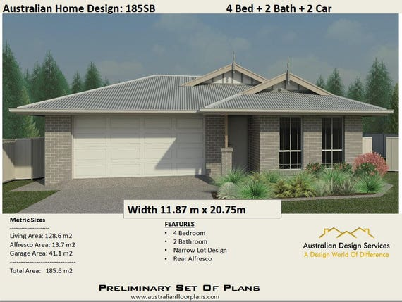 185 6 M2 4 Bedrooms Alfresco 2 Bath Double Garage House Plan For Sale