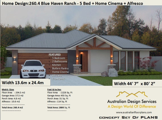 5 Bed house plans Country | 260.4 m2 or 2800 Sq. Feet | 5 Bedroom design Floor Plans For Bedroom Homes Sq Ft on